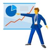 De zakenman in blauw kostuum toont een affiche met het kweken van grafieken vector illustratie