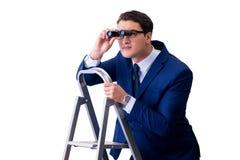 De zakenman boven ladder met verrekijkers royalty-vrije stock afbeeldingen