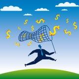 De zakenman concurreert poging om de dollar te vangen Stock Foto