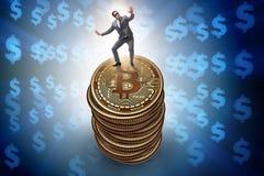 De zakenman in cryptocurrency blockchain concept vector illustratie
