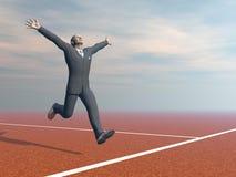 De zakenman is 3D winnaar - geef terug Stock Foto