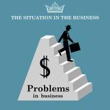 De zakenman daalt de treden van de piramide Problemen in zaken Vector illustratie Stock Afbeeldingen