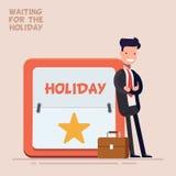 De zakenman of de manager in een pak en een koffer bevinden zich dichtbij een grote kalender met een weekend of een vakantie vlak Stock Foto's
