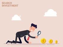 De zakenman of de manager kruipen op alle fours op zoek naar geld en investering in zaken Vectorillustratie in een vlakte Stock Foto's