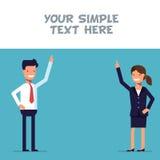 De zakenman of de manager tonen bij de affiche stock illustratie