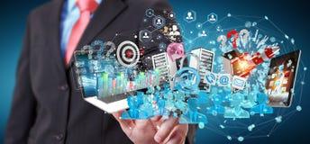 De zakenman die apparaten aansluiten en zaken heeft samen bezwaar 3D Royalty-vrije Stock Foto's