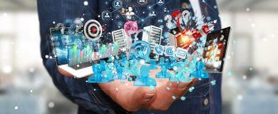 De zakenman die apparaten aansluiten en zaken heeft samen bezwaar 3D Stock Foto
