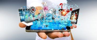 De zakenman die apparaten aansluiten en zaken heeft samen bezwaar 3D Royalty-vrije Stock Afbeelding