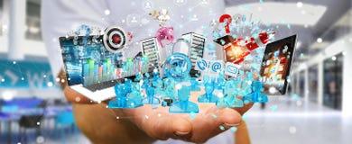 De zakenman die apparaten aansluiten en zaken heeft samen bezwaar 3D Stock Fotografie