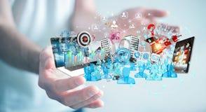 De zakenman die apparaten aansluiten en zaken heeft samen bezwaar 3D Royalty-vrije Stock Afbeeldingen