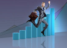 De zakenman die in bedrijfsconcept springen Royalty-vrije Stock Foto