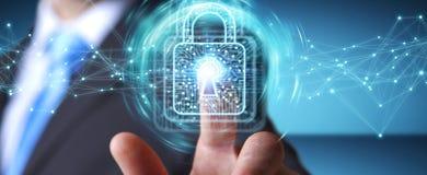 De zakenman die digitaal hangslot met 3D gegevensbescherming met behulp van geeft terug Stock Afbeelding