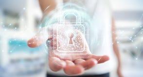 De zakenman die digitaal hangslot met 3D gegevensbescherming met behulp van geeft terug Royalty-vrije Stock Afbeeldingen