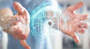 De zakenman die digitaal hangslot met 3D gegevensbescherming met behulp van geeft terug Royalty-vrije Stock Foto's