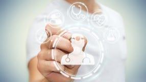 De zakenman die digitale medische interface met een 3D pen gebruiken geeft terug Stock Foto's
