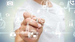 De zakenman die digitale medische interface met een 3D pen gebruiken geeft terug Royalty-vrije Stock Foto's