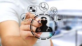 De zakenman die digitale medische interface met een 3D pen gebruiken geeft terug Royalty-vrije Stock Foto
