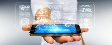 De zakenman die de digitale schermen met 3D hologrammendatas met behulp van geeft terug Royalty-vrije Stock Fotografie