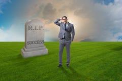 De zakenman die de dood van succes rouwen Stock Afbeeldingen