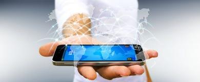 De zakenman die globale netwerk en gegevensuitwisselingen '3D gebruiken geeft terug Royalty-vrije Stock Foto's