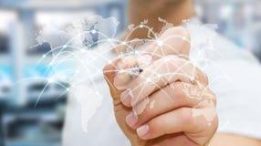 De zakenman die globale netwerk en gegevensuitwisselingen '3D trekken trekt uit Stock Afbeelding