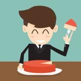 De zakenman die groot cakestuk snijden Stock Foto's