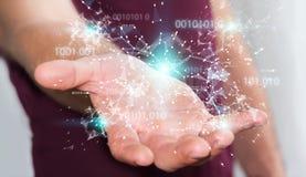 De zakenman die het digitale 3D netwerk gebruiken van de binaire codeverbinding trekt uit Royalty-vrije Stock Foto's
