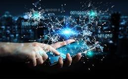 De zakenman die het digitale 3D netwerk gebruiken van de binaire codeverbinding trekt uit Royalty-vrije Stock Fotografie