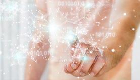 De zakenman die het digitale 3D netwerk gebruiken van de binaire codeverbinding trekt uit Stock Foto's