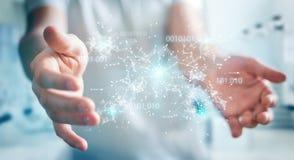 De zakenman die het digitale 3D netwerk gebruiken van de binaire codeverbinding trekt uit Royalty-vrije Stock Afbeelding