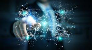 De zakenman die het digitale 3D netwerk gebruiken van de binaire codeverbinding trekt uit Stock Afbeeldingen