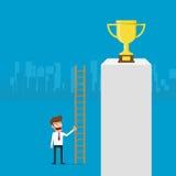 De zakenman die ladder gebruiken voor bereikt en succes Royalty-vrije Stock Afbeelding