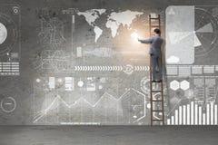 De zakenman die ladder in globaal bedrijfsconcept beklimmen stock foto