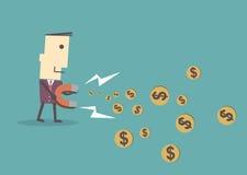 De zakenman die magneet gebruiken trekt geld, vectorillustratie e aan royalty-vrije illustratie