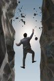De zakenman die uitdagingen in bedrijfsconcept overwinnen royalty-vrije stock afbeeldingen