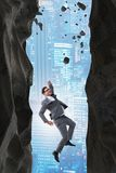De zakenman die uitdagingen in bedrijfsconcept overwinnen royalty-vrije stock fotografie