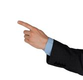 De zakenman die van de hand iets toont Stock Foto