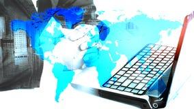 De zakenman die van het succes laptop met behulp van Stock Afbeelding