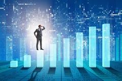 De zakenman die ver in het economische voorspellen concept kijken royalty-vrije stock afbeelding