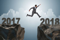 De zakenman die zich op 2018 vanaf 2017 verheugen Stock Afbeelding