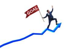 De zakenman die zijn bedrijfsdoelstellingen en doelstellingen bereiken Stock Afbeelding