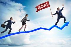 De zakenman die zijn bedrijfsdoelstellingen en doelstellingen bereiken Royalty-vrije Stock Afbeeldingen