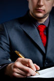 De zakenman dient nadruk in stock foto's