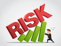 De zakenman draagt de de groeigrafiek van risico stock afbeelding