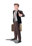 De zakenman in duim stelt omhoog Royalty-vrije Stock Foto