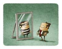 De zakenman is een dief in een spiegel stock illustratie