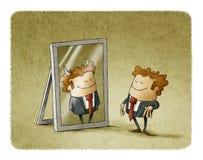 De zakenman is een duivel in een spiegel stock illustratie