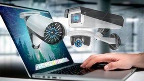 De zakenman een systeem van de Veiligheidscamera houden en het netwerk die verbinden Royalty-vrije Stock Fotografie