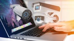 De zakenman een systeem van de Veiligheidscamera houden en het netwerk die verbinden Royalty-vrije Stock Afbeelding