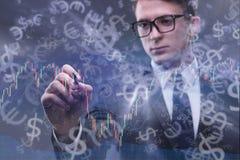 De zakenman en de dollar in bedrijfsconcept Royalty-vrije Stock Afbeelding